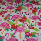 "Flamingos and Flowers White Fleece Blanket Baby Pet Lap Hand Tied 30"" x 24"""