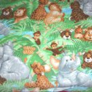 "Jungle Animals Green Fleece Blanket Baby Pet Lap Hand Tied 30"" x 24"""