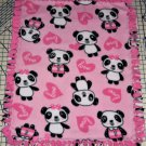 "Panda Bears on Pink Fleece Blanket Baby Pet Lap Hand Tied 30"" x 24"""