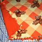 "Teddy Bears Fleece Baby Pet Lap Blanket Orange Hand Tied 30"" x 24"""