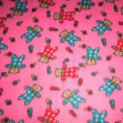 "Red Blue Teddy Bears Pink Fleece Baby Pet Lap Blanket 30"" x 24"""