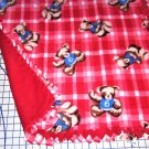 "Teddy Bears Red Plaid Fleece Baby Pet Lap Blanket  Hand Tied 30"" x 30"""