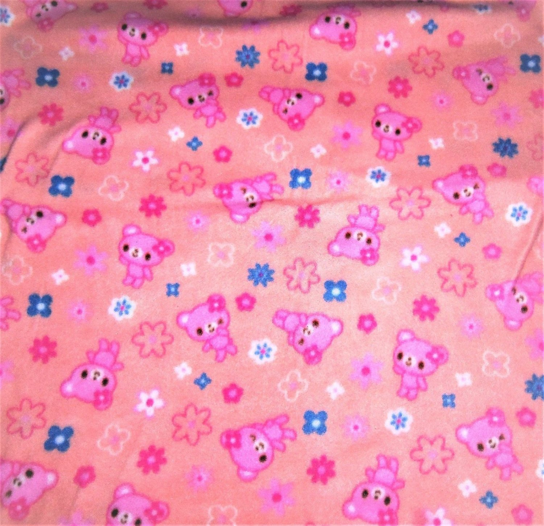 "Teddy Bears Peach Pink Fleece Baby Pet Lap Blanket  Hand Tied 30"" x 24"""