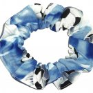 Soccer Balls in the Clouds Fabric hair Scrunchie Scrunchies by Sherry