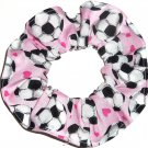 Soccer Balls Hearts Pink Fabric hair Scrunchie Scrunchies by Sherry
