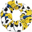 Soccer Balls Happy Faces Yellow Fabric hair Scrunchie Scrunchies by Sherry