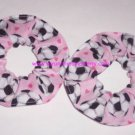 Soccer Balls Hearts Pink Fabric Mini Hair Scrunchie Scrunchies by Sherry Set of 2