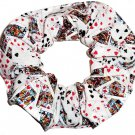 Playing Cards Poker White Fabric Hair Scrunchie Scrunchies by Sherry