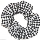 Black White Houndstooth Print Hair Scrunchie Ponytail Holder  Scrunchies by Sherry