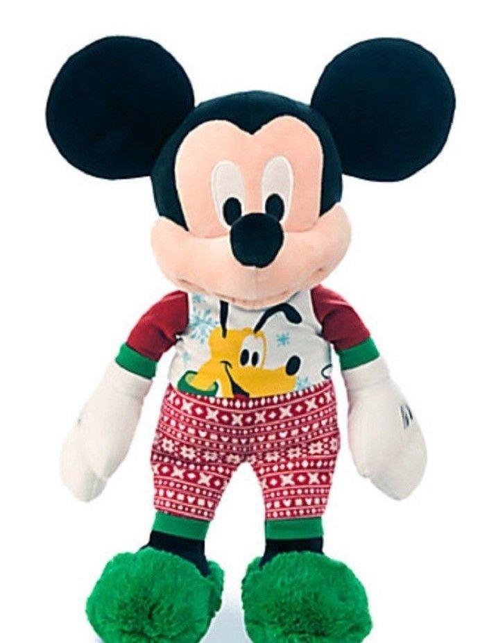 Disney Store Mickey Mouse Holiday Pajamas Plush Toy Pluto 17'' 2015 New