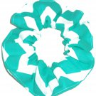 Aqua Chervon Wide Print Hair Scrunchie Ponytail Holder Scrunchies by Sherry