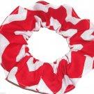 Red Chervon Wide Print Hair Scrunchie Ponytail Holder Scrunchies by Sherry