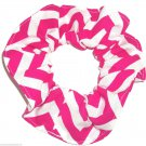 Pink Chervon Print Hair Scrunchie Ponytail Holder Scrunchies by Sherry