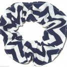 Navy Chervon Print Hair Scrunchie Ponytail Holder Scrunchies by Sherry