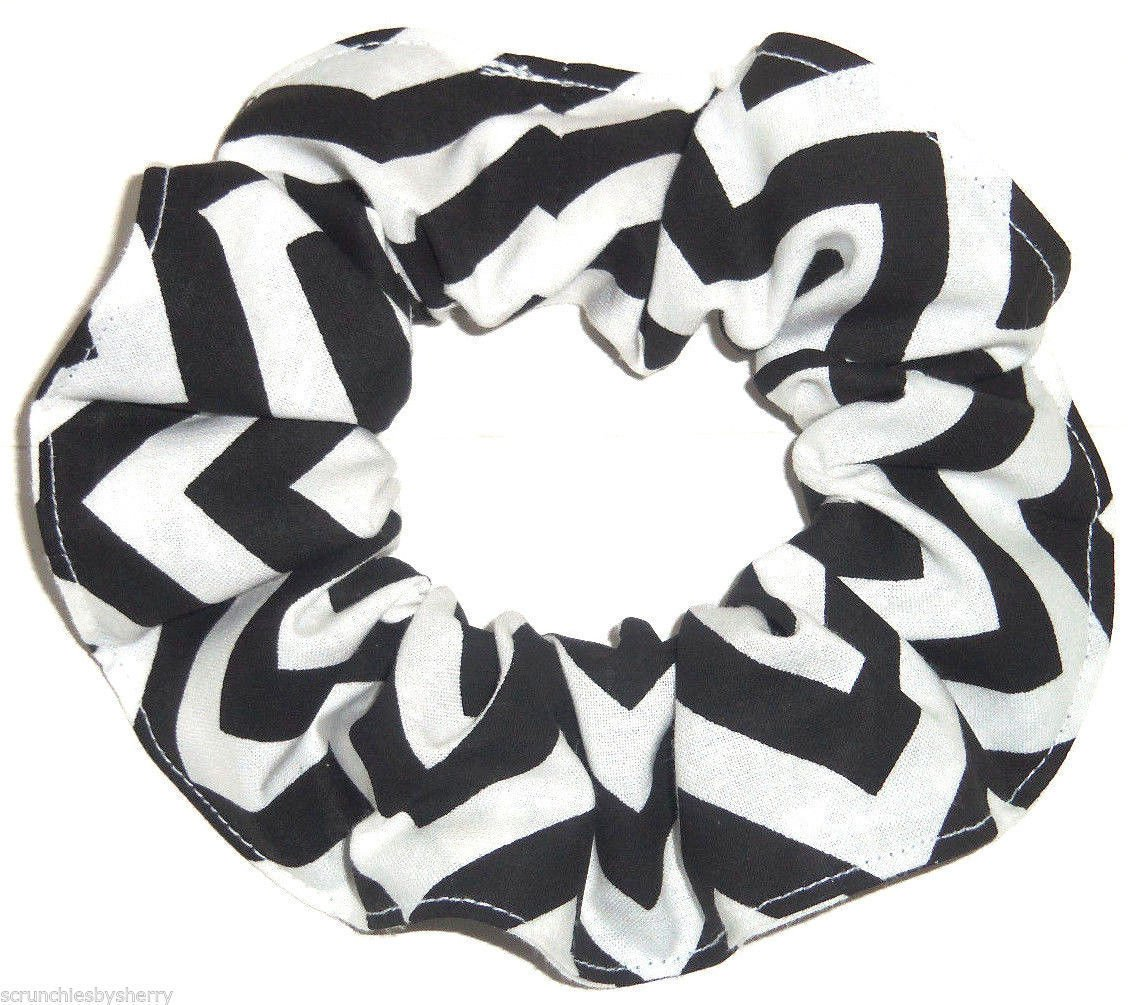 Black Chervon Print Hair Scrunchie Ponytail Holder Scrunchies by Sherry