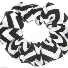 Black Chervon Print Hair Scrunchie Ponytail Holder Scrunchies by Sherry