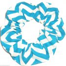 Turquoise Chervon Print Hair Scrunchie Ponytail Holder Scrunchies by Sherry