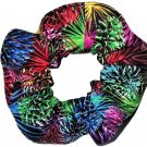 Rainbow Fireworks Black Fabric Hair Scrunchie Scrunchies by Sherry