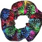 Rainbow Fireworks Black Fabric Hair Scrunchie Scrunchies by Sherry