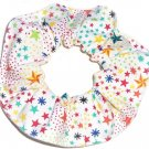 Rainbow Stars White Fabric Hair Scrunchie Scrunchies by Sherry