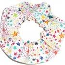 Rainbow Stars White Fabric Hair Scrunchie Scrunchies by Sherry