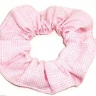 Pink White Plaid Fabric Hair Scrunchie Scrunchies by Sherry