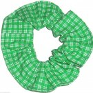 Green White Plaid Fabric Hair Scrunchie Scrunchies by Sherry