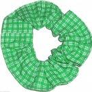 Green White Plaid Fabric Hair Scrunchie Scrunchies by Sherry