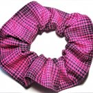 Pink Black Plaid Fabric Hair Scrunchie Scrunchies by Sherry