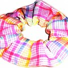 Blue Yellow Pink Plaid Fabric Hair Scrunchie Scrunchies by Sherry