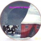 American Folk Art Collector Plate Barnyard Christmas Farmers Franklin Mint