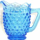 Fenton Blue Hobnail Cream Pitcher Art Glass Colbalt Creamer Vintage