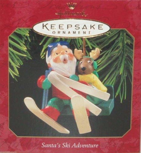 Hallmark Ornament Christmas Santa's Ski Adventire Skiing 1997 Holiday