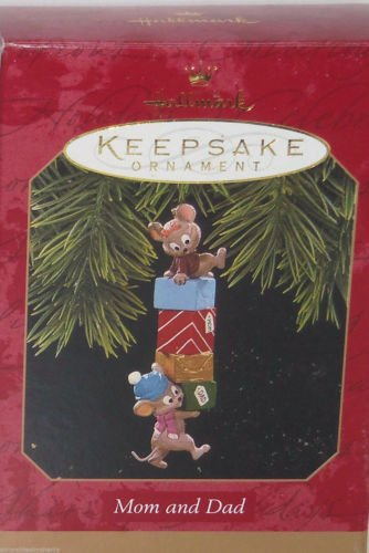 Hallmark Ornament Mom Dad 1997 Christmas Mouse Mice Presents