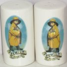Morton Salt Pepper Shakers Ceramic Yellow Rain Coat Premium Since 1876 New