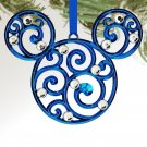 Disney Parks Mickey Mouse Icon Filigree Ornament Blue New