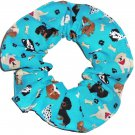 Yorkie Poodle Maltese Weiner  Dog Teal Fabric Hair Ties Scrunchie Scrunchies by Sherry