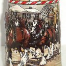 Budweiser Beer Stein 1986 Clydesdales Horses American Town Winter Day Vintage