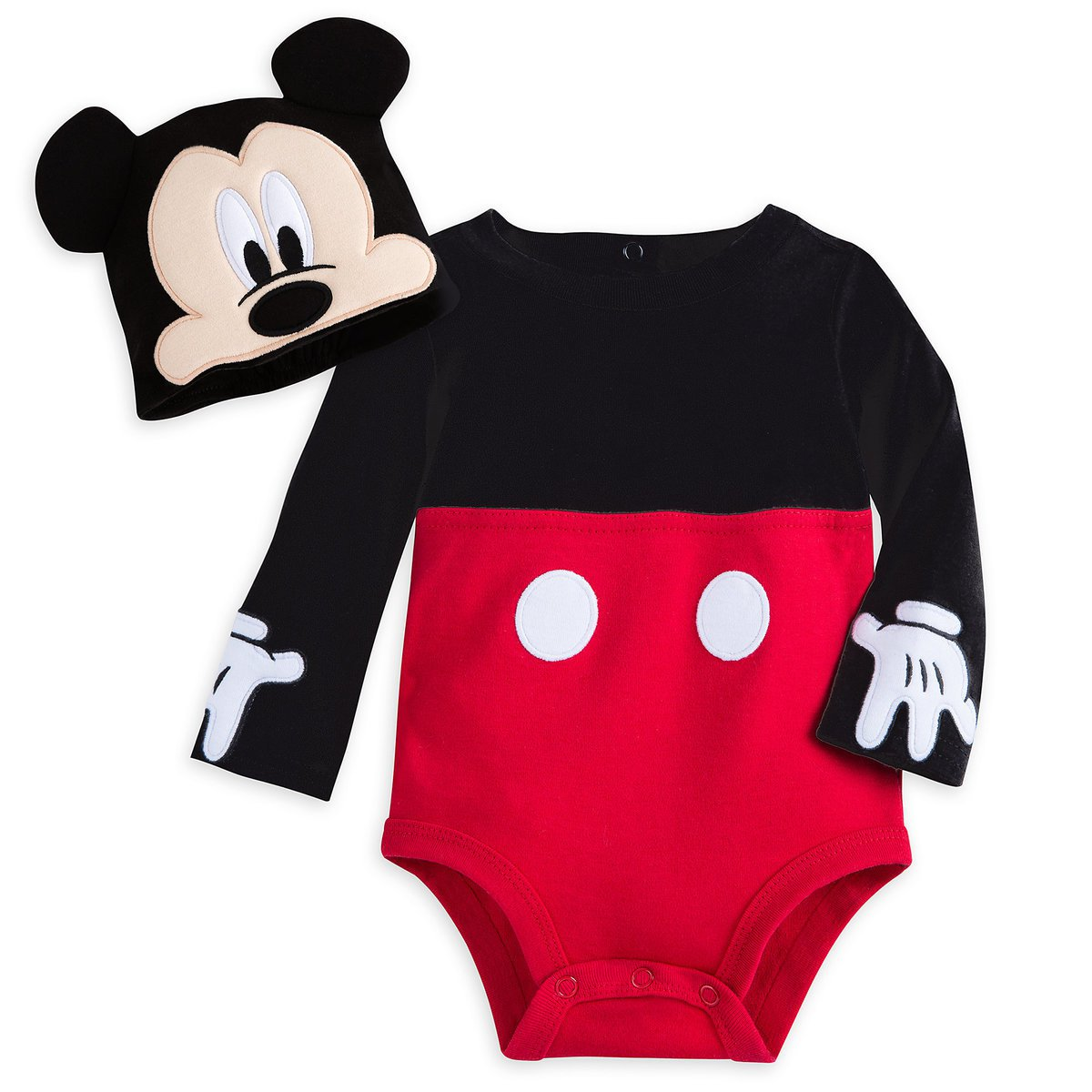 Disney Store Baby Bodysuit Costume Hat Mickey Mouse Size 3-6 Months