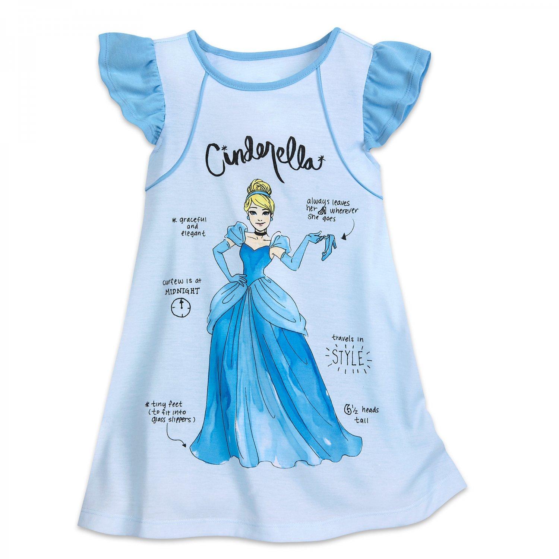 Disney Store Cinderella Nightshirt Girls Blue 2018 New Size 5/6