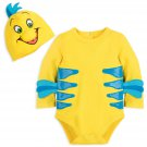 Disney Store Flounder Baby Costume Bodysuit Hat The Little Mermaid 3-6 Months 2018 New