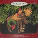 Hallmark Ornament Christmas Leading the Way Moose Santa Folk Art Americana 1997