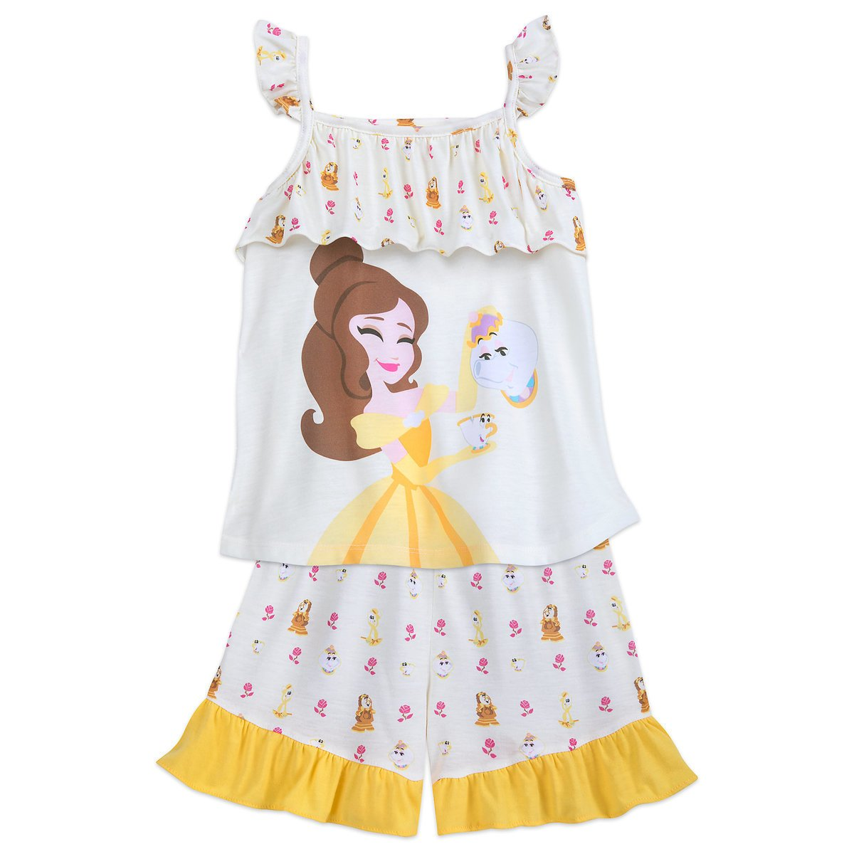 Disney Store Belle 2 Piece Pajamas Short Sleep Set Size 5/6 2018