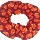 Halloween Pumpkins Maroon Fabric Hair Scurnchie Scrunchies by Sherry