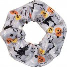 Halloween Pumpkins Witches Ghosts Gray Fabric Hair Scurnchie Scrunchies by Sherry