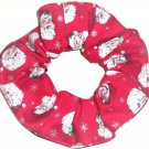 Santa Claus Christmas Holiday Red Fabric Hair Scrunchie Ties Scrunchies by Sherry