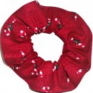 Candy Cane Christmas Holiday Red Crackle Fabric Hair Scrunchie Ties Scrunchies by Sherry