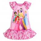Disney Store Princess Ariel Jasmine Rapunzel Snow White Nightshirt Girls Pink Size 7/8