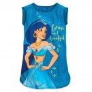 Disney Store Jasmine Girls Nightshirt Bluek Size 5/6 New 2019