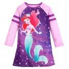 Disney Store Ariel Nightshirt Princess The Little Mermaid Long Sleeve Purple Size 5-6 New 2019